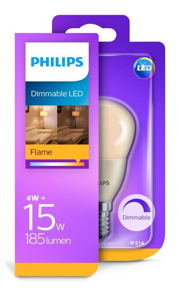 Philips LED kogellamp, E14, 4W, 230V, 185lm, 2000 (super warm wit), dimbaar