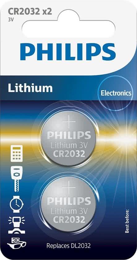 Philips CR2032 - Knoopcel batterij - 2 stuks