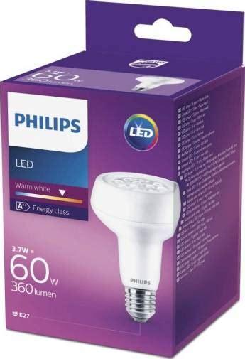 Categorie LED Fitting E27 Vermogen 3.7 W Lichtstroom (Φ) per lichtbron 370 lm Vergelijkbaar vermogen 60 W Vorm Reflector Lichtkleur Warmwit Lichtkleur 2700 K Dimbaar Nee Energielabel A++