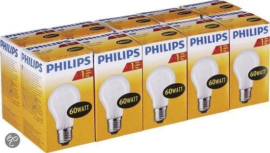 PHILIPS Gloeilamp 60W E27 MAT (10 stuks) De ouderwetste gloeilamp! Met warm licht